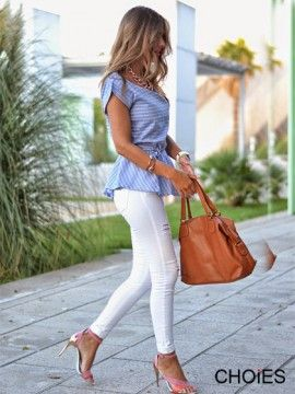Light Blue Stripe Tie Waist Peplum Blouse | Choies