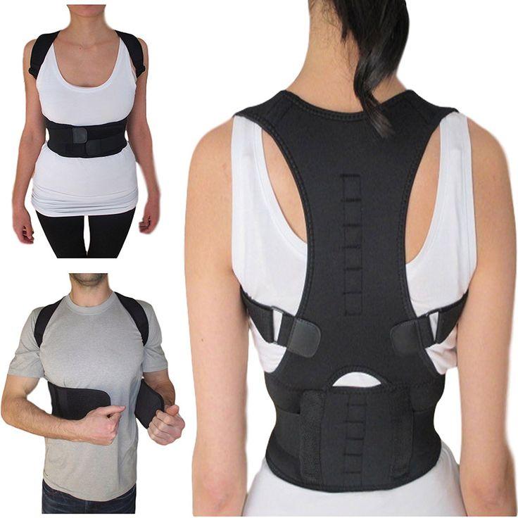AO FEI TE Adjustable Magnetic Posture Corrector Corset Back Support Brace Belt Orthopedic Vest Black White AFT-B002