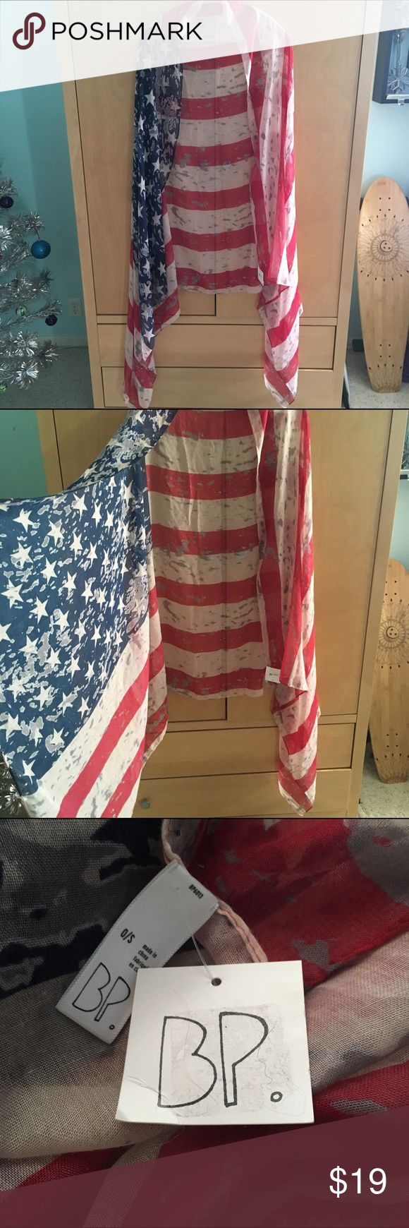 Large American flag scarf  In the first photo I have it draped over a hanger, showing one of the ways you could wear it. It could also be worn as a skirt, coverup dress after swimming, in your hair, or hung up as a decoration in your room!  Perfect condition, no flaws. bp Accessories Scarves & Wraps