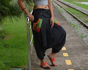 Nuevo estilo, Pantalones de harén, pantalones de Harem, pantalones Hippie, hombres, mujeres, artículo único hecho a mano