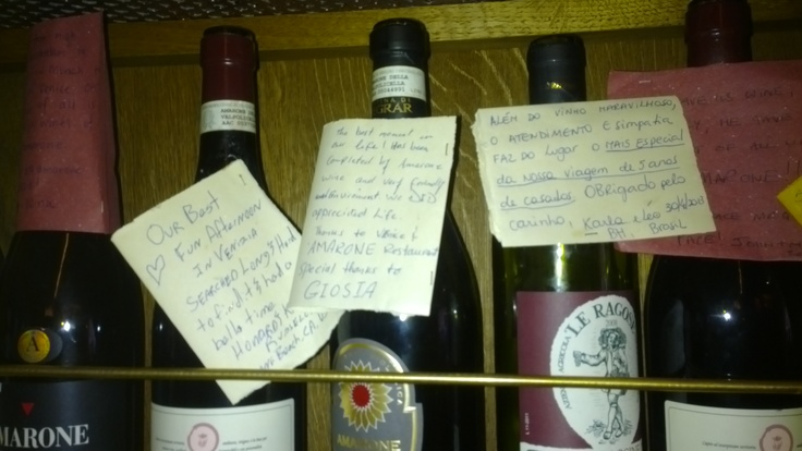 Amarone Bacaro in San Polo.  Messages on red wine bottle: vino veritas?