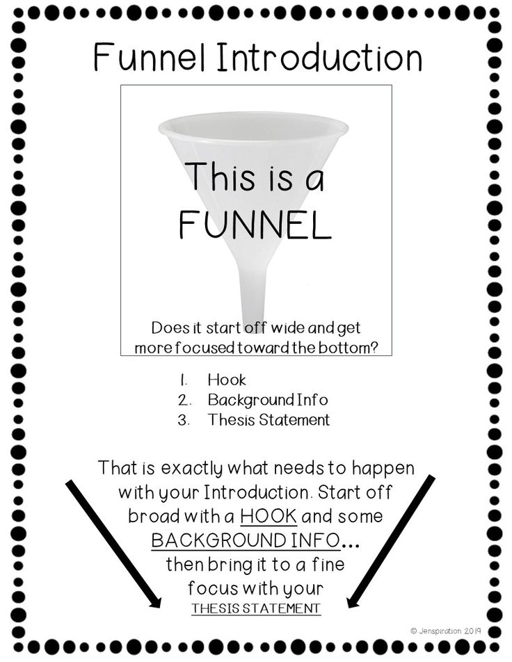 Funnel Introduction Writing hooks, Thesis statement