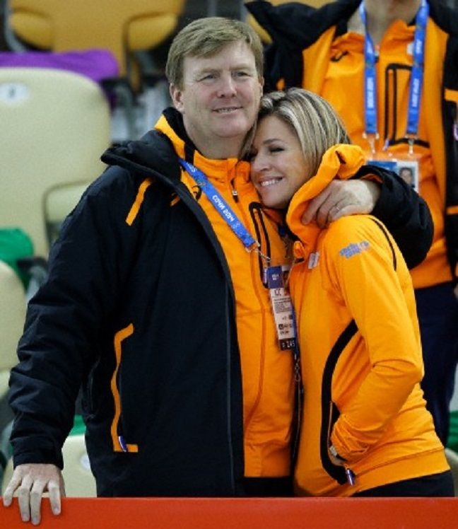 Dutch King Willem-Alexander and Queen Maxima after country skater Margot Boer won a bronze in the women's 500-meter speedskating race at the Adler Arena Skating Center at the 2014 Winter Olympics
