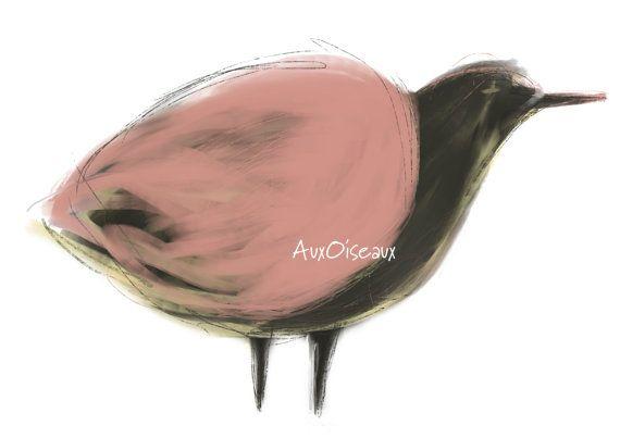 Oiseau brun rose jaune dessin numérique original par AuxOiseaux