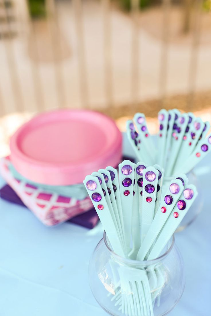 Take Plastic Forks From Dollar Tree and Add Your Own Jewels