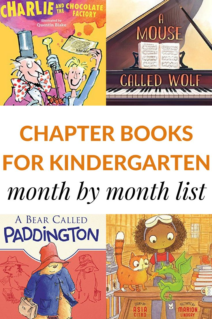 A month by month list of chapter books for kindergarteners to read aloud.  Your whole year of read-alouds is planned with this free printable list of books. via @growingbbb