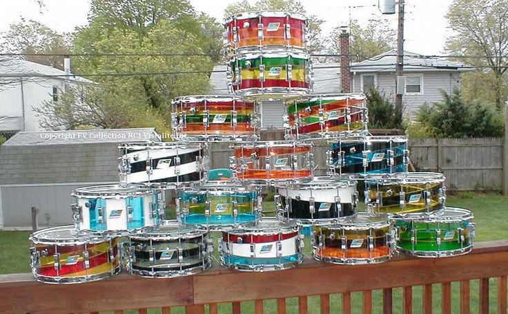 Check out this collection of Ludwig Vistalite snare drums, from RCI Vistalite International
