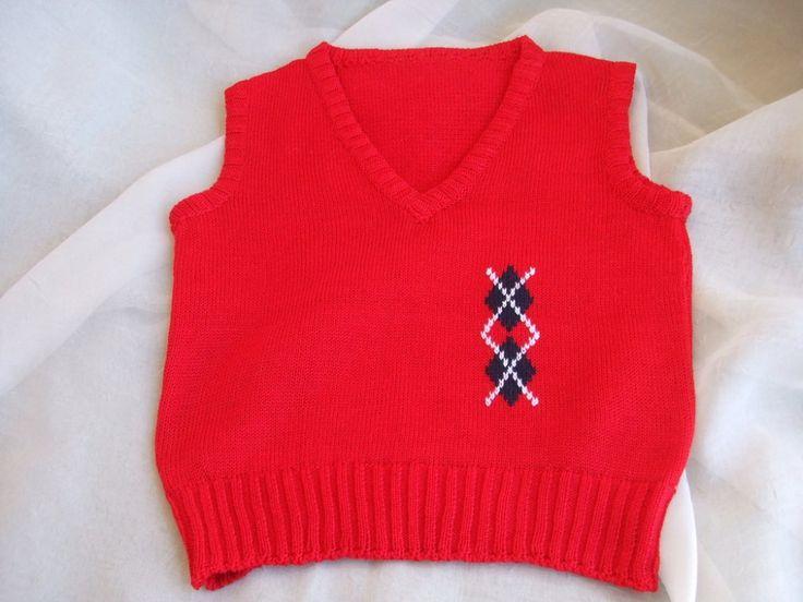 gilet smanicato maglia cotone lana bimbo