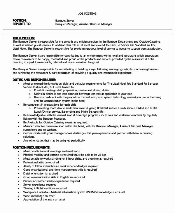 Banquet Server Job Description For Resume Awesome Free 7 Sample Server Resume Templates In Ms Word In 2020 Server Resume Job Resume Counselor Job Description