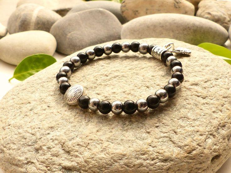 Bracelet en obsidienne noire et hématite, bracelet en obsidienne noire, bracelet hématite, bracelet bouddha médaillons arbres de vie : Bracelet par lapassiondisabelle