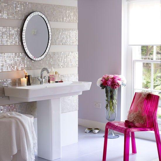 Love the pink chair!: Decor, Powder Room, Interior, Mosaic Tile, Dream, Bathroom Ideas, House, Design