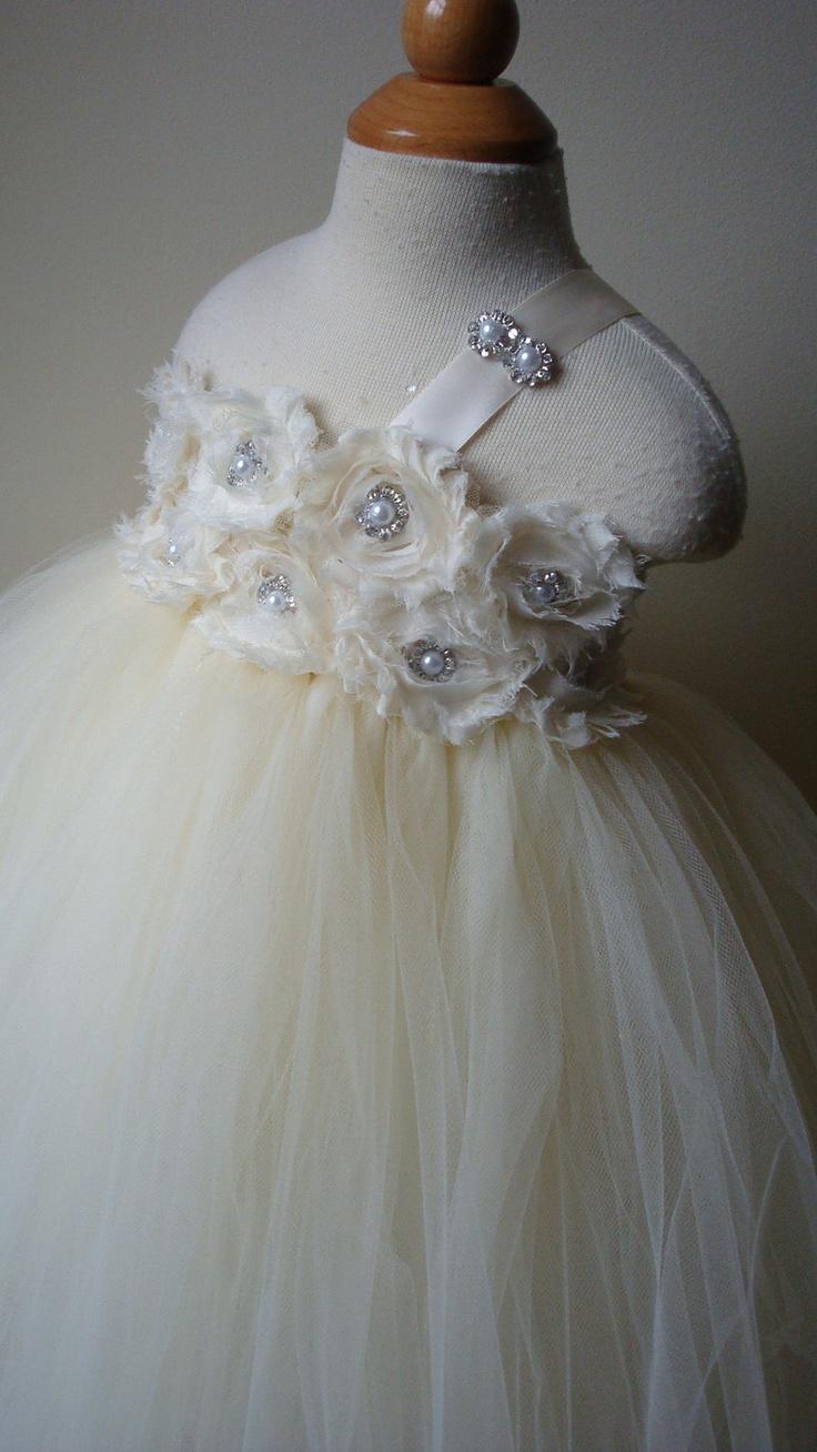 Flower girl dress Ivory tutu dress,  chiffton roses, baby tutu dress, toddler tutu dress,newborn-24, 2t,2t,4t,5t, birthday. $89.00, via Etsy.