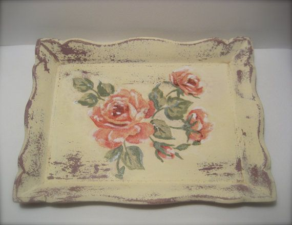 Shabby , Vintage Style Tray with decoupage ,Wooden vintage tray, Flower decoupaged decorative tray
