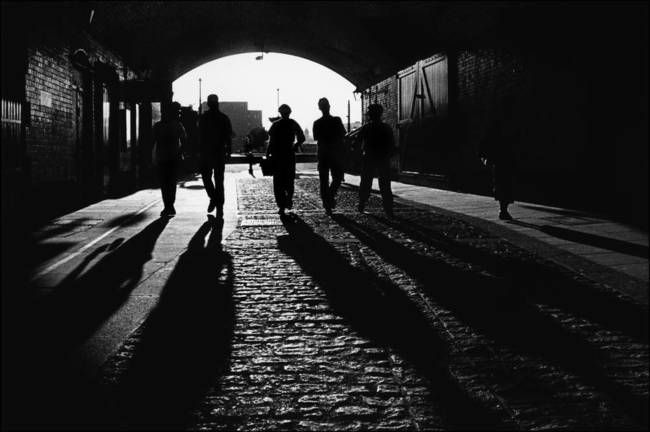 """Shad Thames, Shadows, London"" by Aldo Cervato, Italy // Shad Thames, Shadows, London. Medium: Black and White Film. Authentication labels signed by the artist are available free of charge with orders over $60. Please go to www.aldogallery.com to order them (or to www.aldocervato.com). // Imagekind.com -- Buy stunning, museum-quality fine art prints, framed prints, and canvas prints directly from independent working artists and photographers."