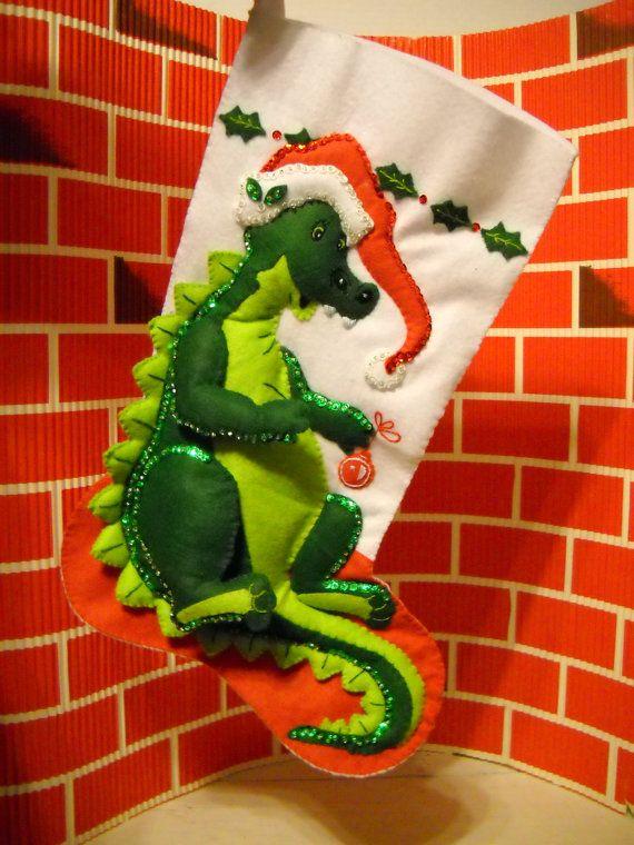 Bucilla Felt Christmas Stocking Sock Dinosaur Santa by TammyMadeIt