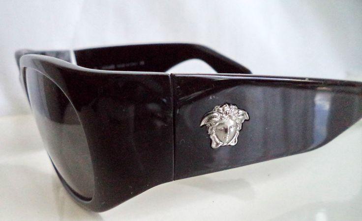 Lovely VERSACE model 4037M oversized Black MEDUSA LOGO sunglasses HARD CASE vtg