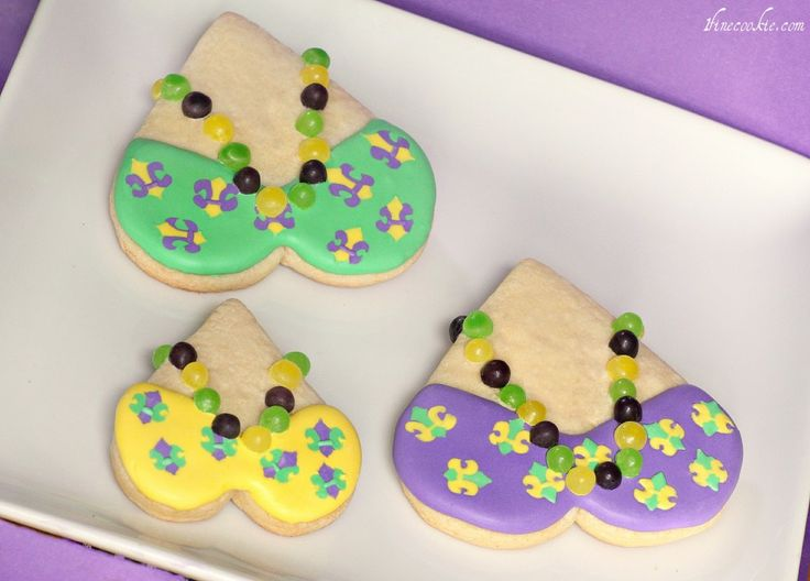 Mardi Gras Cookies. With Teeny, Tiny Beads. Approach Cuteness Factor With Caution