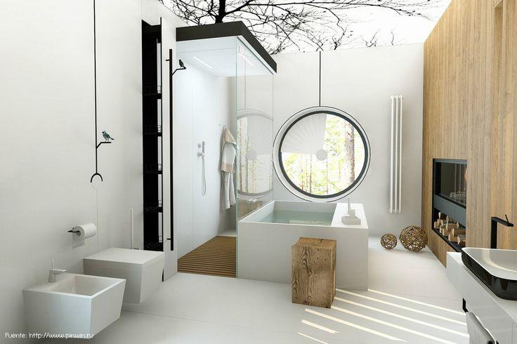 Diseño inspirado en la naturaleza, con un cielorraso retro-iluminado con un dibujo de árboles. Los accesorios con pajaritos completan el estilo.