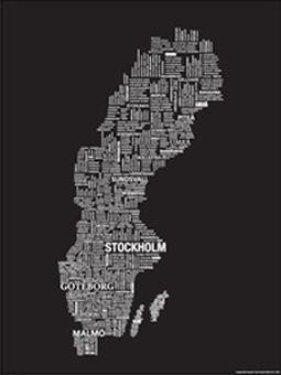 Bild - Sverigekarta svart 60x80cm