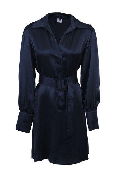 Pink Tartan Navy Silk Long Sleeve, Belted Shirt Dress SZ8 #LoveThatCloset #Designer #Consignment #Sale #Dress #PinkTartan