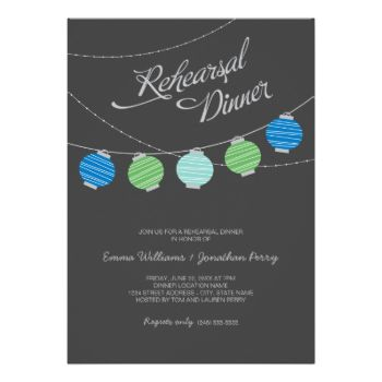 Whimsical wedding rehearsal dinner invitation features a night sky with vibrant hanging paper lanterns. Charcoal black background with light gray, blue, green and aqua colors. #wedding #rehearsal #dinner #script #paper #lantern #lanterns #outdoor #casual #outdoors #outside #party #sky #night #evening #simple #contemporary #modern