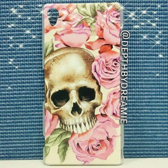 Skull in rose hard backcase for sony xperia z3