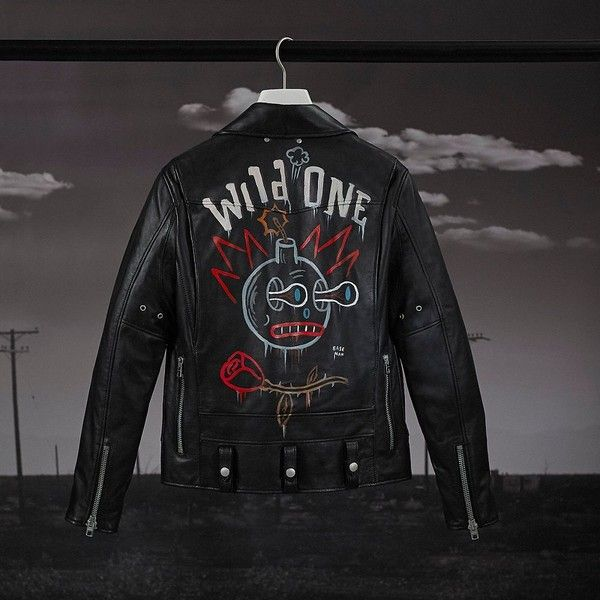 Coach Baseman Custom Painted Moto Jacket (£2,090) ❤ liked on Polyvore featuring men's fashion, men's clothing, men's outerwear, men's jackets, black, mens leather motorcycle jacket, mens outerwear, mens leather biker jacket, mens motorcycle jacket and mens biker jacket