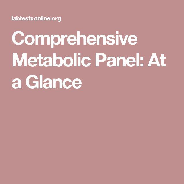 Comprehensive Metabolic Panel: At a Glance