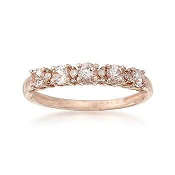 50 ct. t.w. Morganite Ring With Diamonds in Rose Sterling ... - photo #35