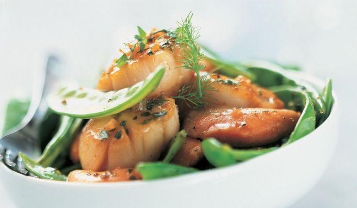 Recette Saint-Jacques juste poêlées aux herbes, pois gourmands - recettes Les plats - Picard