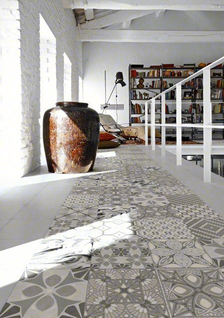 Heritage Tiles > TASSEL : The Tassel range offers random floral tiles in subtle greys that go with any furnishing style. The range includes a non patterned tile that complements the patterned tiles and expands the number of design possibilities. www.tiles.co.nz