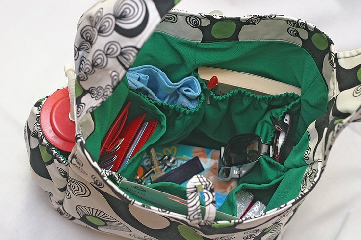 Interior of the diaper bag - lots of pockets where you can keep everything you need
