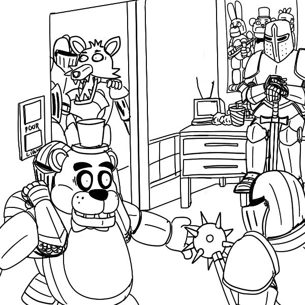 five knights at freddy s fnaf coloring pages coloring