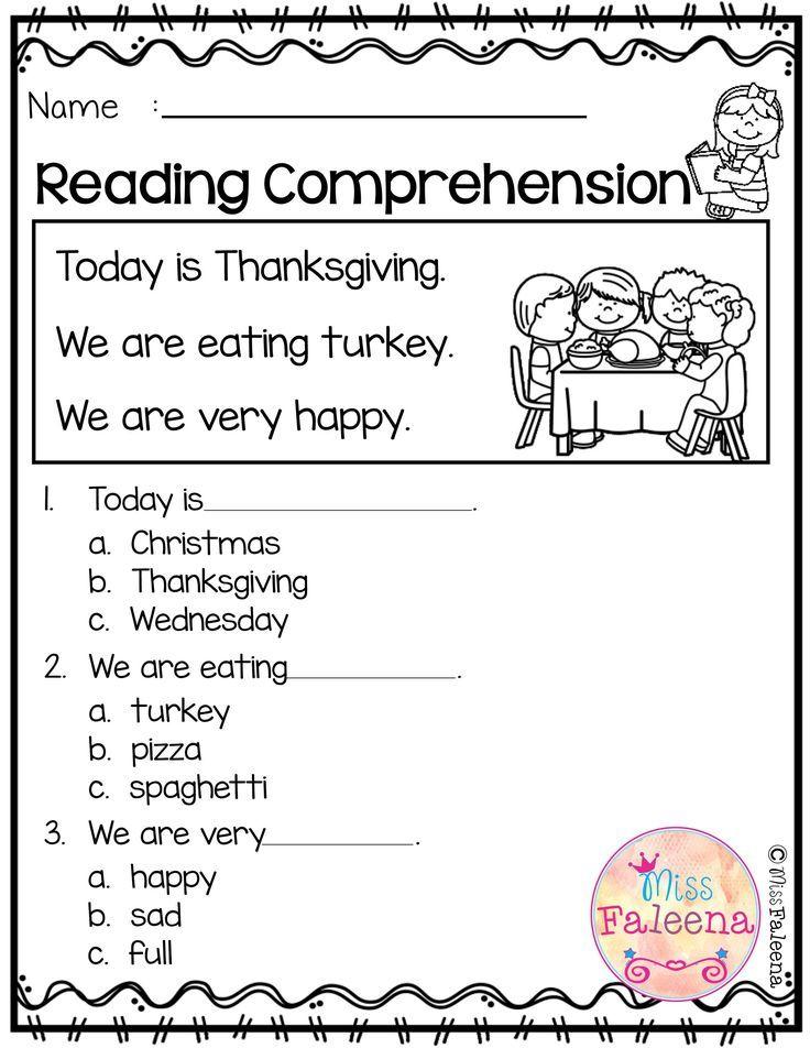 November Reading Comprehension Is Suitable For Kindergarten Students Or Begi Comprehension Worksheets Reading Comprehension Kindergarten Reading Comprehension Kindergarten reading printable worksheets