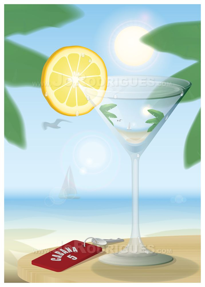 Vector Artwork. A Beach scene under Banana Trees with a Cocktail and Cabana Key. The ocean stretches out of focus into the distance with the Focus being in the Glass. Picture in Picture.