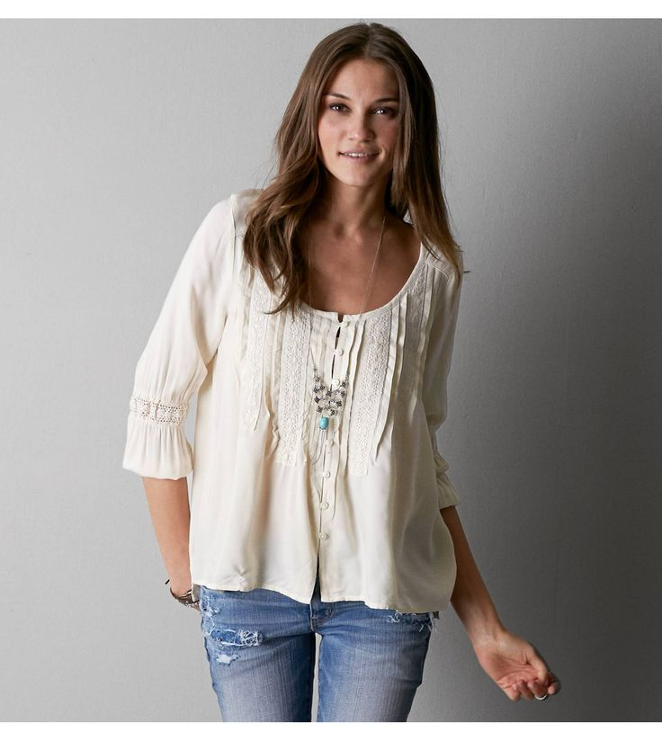 Super Cute Cream AEO Pintucked Peasant Shirt