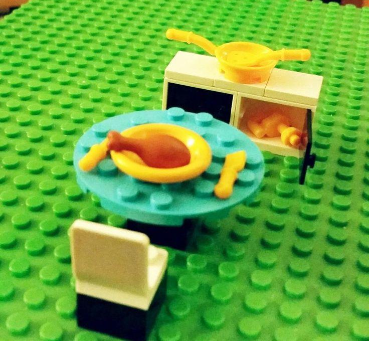 LEGO Custom Furniture Kitchen Set Table Chairs Cabinets Turkey Utensils Modular LEGOModular