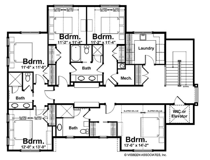 Jack jill bathroom floor plans floor plans pinterest for 4 bedroom layout design