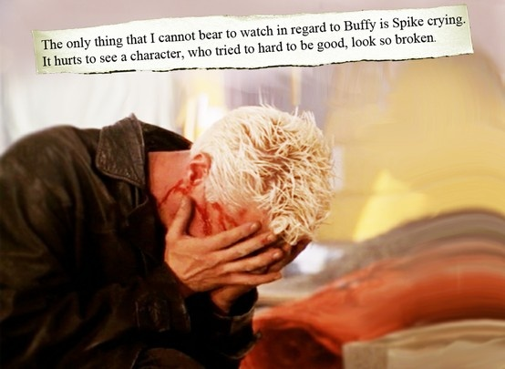 I cried because Buffy died and I cried even more when I saw Spike sobbing over her too...
