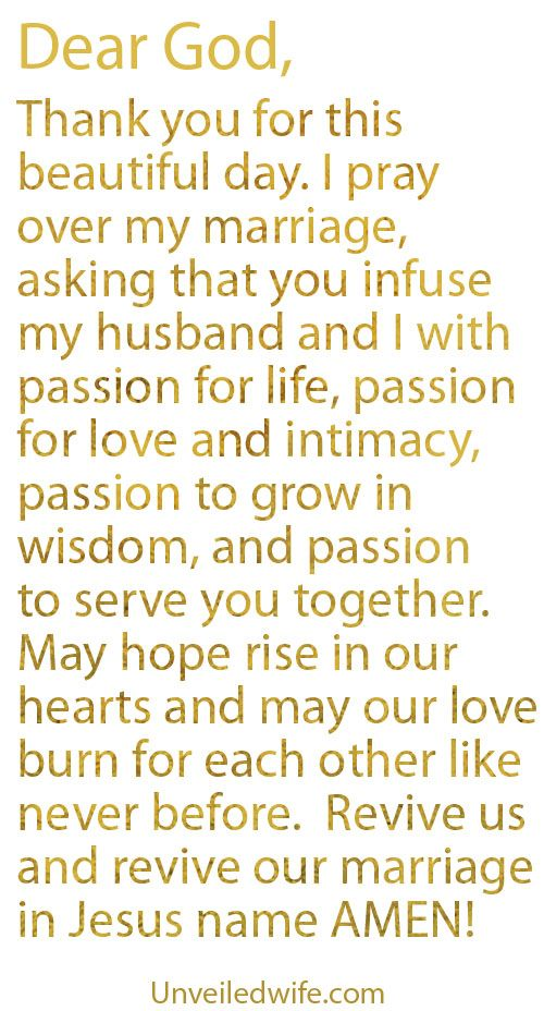 Great prayer for marriage. Prayer Of The Day – Passion In Marriage