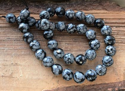 Для украшений ручной работы. Ярмарка Мастеров - ручная работа. Купить Обсидиан снежный 10 мм шар огранка бусины шар камни для украшений. Handmade.