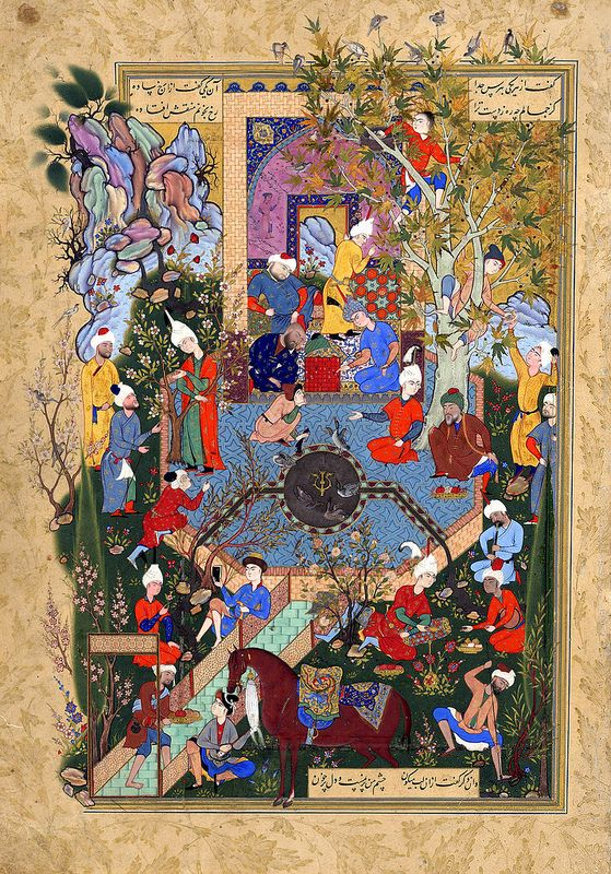 A Father Advises His Son About Love (Jami (?-1492 CE Persian (?)): Haft Awrang (Seven Thrones) (ca. 1556-1565 CE Safavid Miniature Painting, Mashad, Khurasan, Iran) | Opaque watercolor, ink and gold on paper H: 34.2 W: 23.2 cm