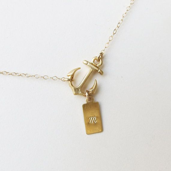 Personalized Sideways Anchor Necklace