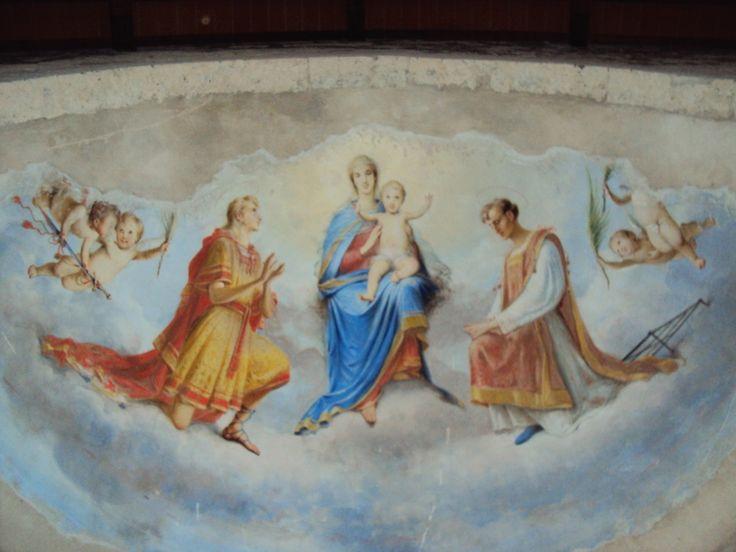 Dipinto situato nel Catino dell'Abside raffigurante Maria, Gesù e San Pancrazio