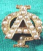 Alpha Phi Badge - 1944 - Chapter unknown - I actually am not sure if this is an Alpha Phi badge, since there is no AOE and I've never seen a fully jeweled one before. If anyone has any info, please comment.