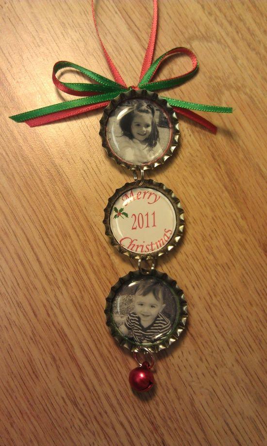 Bottle cap ornaments, cute!.