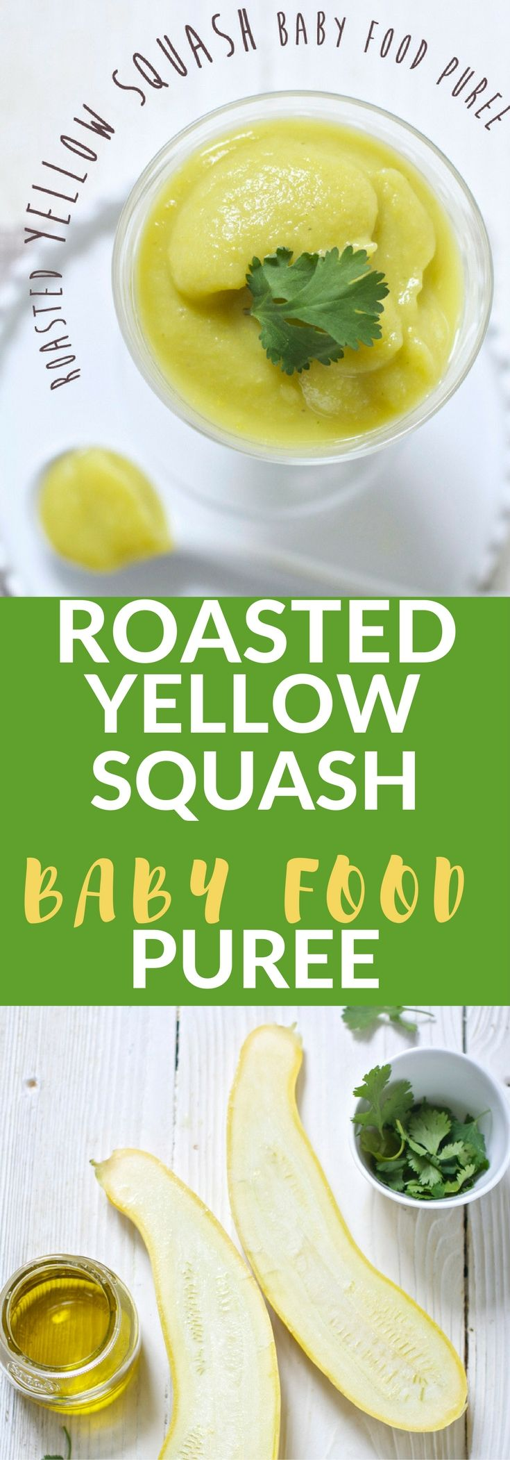 This fun and tasty Roasted Yellow Squash + Olive Oil with Cilantro Baby Food Puree will be a hit with your little one! Creamy, rich and full of flavor, it's hard not to love this amazing puree.