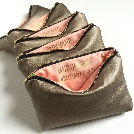 Four Gold Leather Makeup Bags w. Custom by ShopSandraSmith on Etsy
