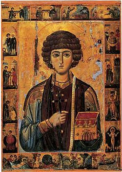 St Panteleimon, Great-martyr and Unmercenary healer. Physicians, midwives, livestock, lottery, lottery winners and victories, lottery tickets, invoked against headaches, consumption, locusts, witchcraft, accidents and loneliness, helper for crying children. No more locust problem!