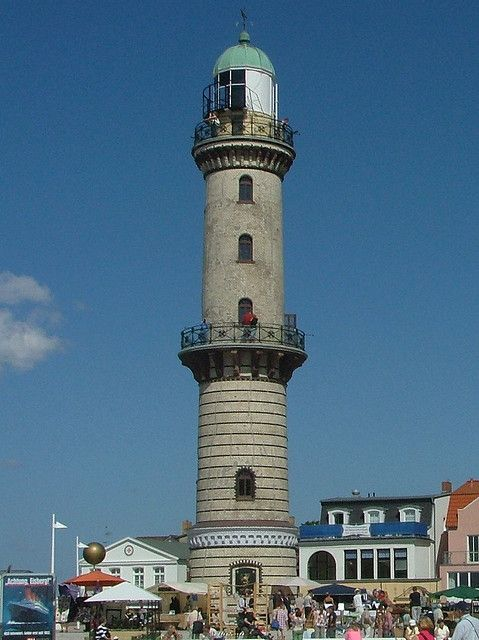 Warnemünde Lighthouse is a lighthouse situated on the estuary of the Warnow river in Warnemünde, a district in the borough of Rostock. The lighthouse has a height of 36.9 metres and was put into service in 1898. In 1862 it was decided to replace the old 8-metre-high stormlamp in Warnemünde with a new lighthouse. The construction of the lighthouse was officially approved in 1863, however the project did not actually start until 1897.